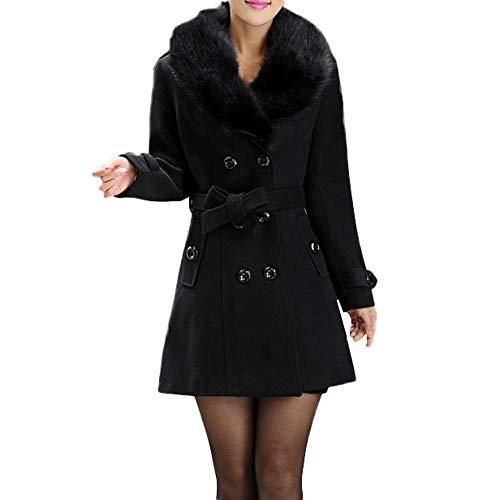 OIKAY Damen Winter Parka jacken Damen Revers künstliche Wollmäntel Trench Jacket Langarm-Mantel Outwear(Schwarz,EU-36/M)