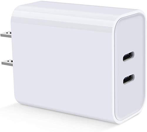 Elanyouth por-M Cargador de Pared USB C de Doble Puerto PD 45 W con Entrega de Energía para Macbook, Pixel, iPad, S9/S9+/Note 10+, Serie Galaxy
