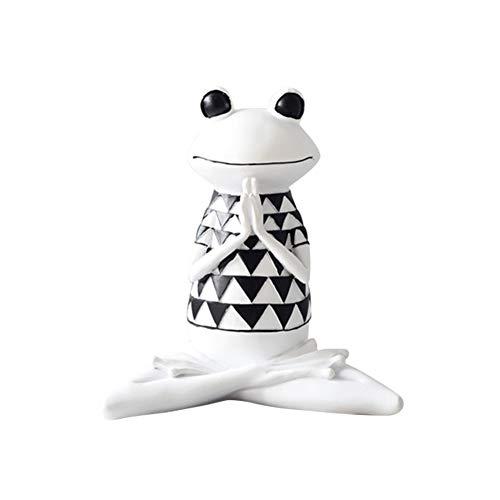 Resina Dibujos Animados Yoga Rana Estatua Divertido Animal Estatua Escritorio Arte Artesanías Sala Nórdica Adornos Casa Tocador Niños
