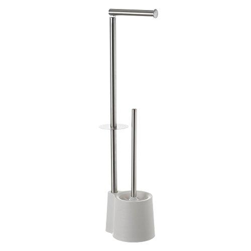 LOLAhome Portarrollos escobillero Blanco de Acero Inoxidable de 65x12x16 cm
