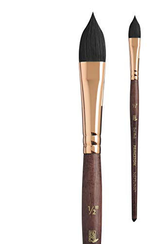 Princeton Artist Brush, Neptune Series 4750, Synthetic Squirrel Watercolor Paint Brush, Oval Wash, Size 1/2 Inch
