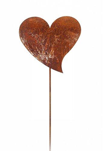 Gartenstecker Herzen Metall Rost Gartendeko Edelrost (Volles Herz)