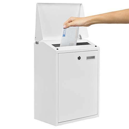 COSTWAY Buzón de Exterior con 2 Llaves para Pared Buzón Bloqueable para Correo Cartas Postal (Blanco)