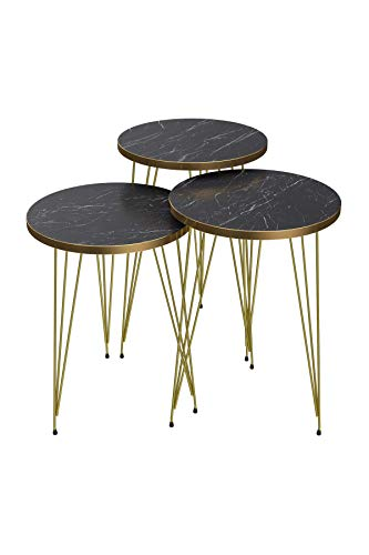 SASAHOO Nest of Tables Set of 3 - Black Marble Look Wooden Nesting Small Round Table with Gold Metal Legs and Frame | Side Tea Coffee Table, Bedside, End Table (Black Marble w/Gold Frame)