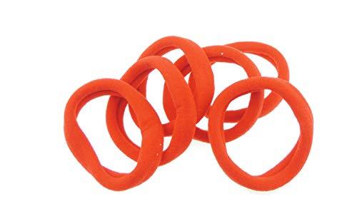 Paquete de 6 gomas para el pelo de tela de jersey suave, color rojo