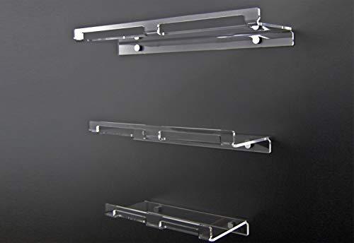 Slato Mensola da bagno a muro porta oggetti dal design moderno in plexiglass trasparente Dione disponibile in tre dimensioni (Piccola (30×14 cm))