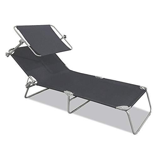 Ouhigher Sonnenliege Klappbar Gartenliege Camping Liege mit Dach Liegestuhl Relaxliege Sonnendach und Rückenlehne Verstellbar 188 x 56 x 27 cm, Freizeitliege Strandliege (Dunkelgrau mit Dach)