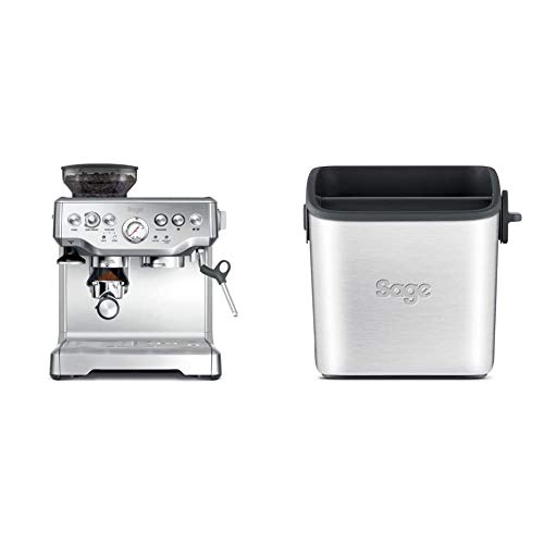 Sage BES875UK The Barista Express with Temp Control Milk Jug, Brushed Stainless Steel & BES100GBUK the Knock Box Mini Coffee Grind Bin, Silver