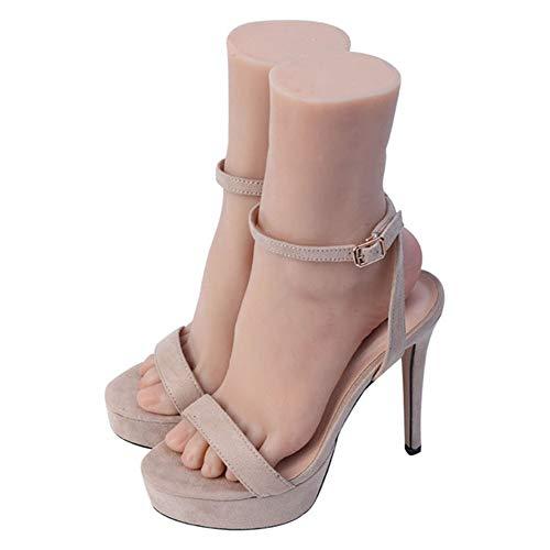 YZZ Pied Femelle Silicone Vie Taille Mannequin Sketch Pratique Nail Art Bijoux Affichage de Chaussettes de Chaussures (Une Paire),Bone