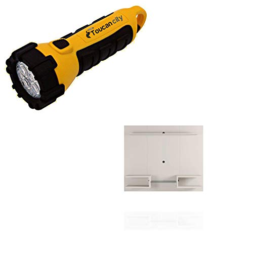 Toucan City LED Flashlight and Luxor Buffalo 64 in. Off-White Particle Board Floating Entertainment Center Fits TVs Up to 50 in. with Cable Management 224HD1