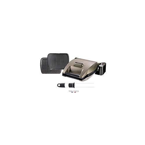 LAGRANGE 019323 Gaufrier Premium + 2 jeux de plaques Gaufres et Panini/Grill viande + Pic a gaufres - Taupe