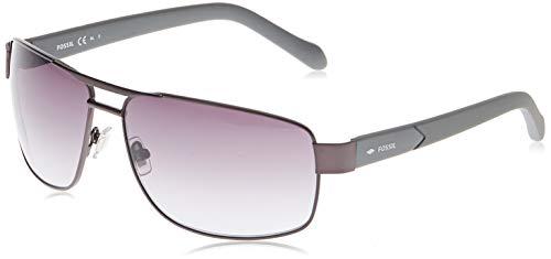 Fossil Men's Fos3060s Rectangular Sunglasses, Dark Ruthenium Gray/Gray Gradient, 63 mm