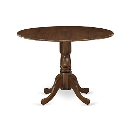 DLT-AWA-TP Dublin Dining Table Made of Rubber Wood with Two 9 Inch Drop Leaves, 42 Inch Round, Walnut Finish