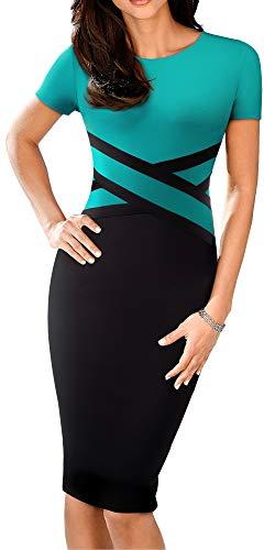 HOMEYEE Women's 3/4 Sleeve Colorblock Sheath Pencil Church Dress B463 (8, Turquoise-Short Sleeve)