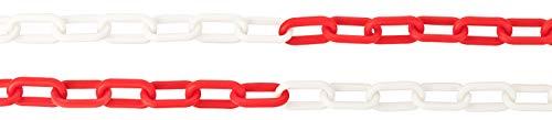 3m / 5m / 10m / 25m Plastikkette ROT/WEISS weiß Meterware Kunststoffkette für Absperrungen, Begrenzungen, Zaunersatz, Parkplatzsperre, Einfahrtsperre – Länge wählbar (3 Meter)