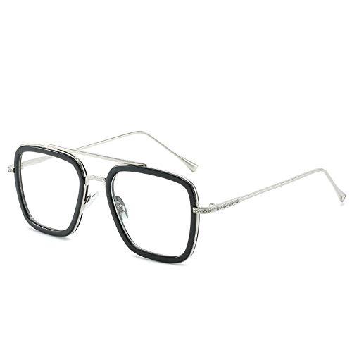 hqpaper Avengers 3 Iron Man Robert Downey Jr. same glasses pentagon sunglasses tide sunglasses 66218-Explosion_Silver frame flat mirror