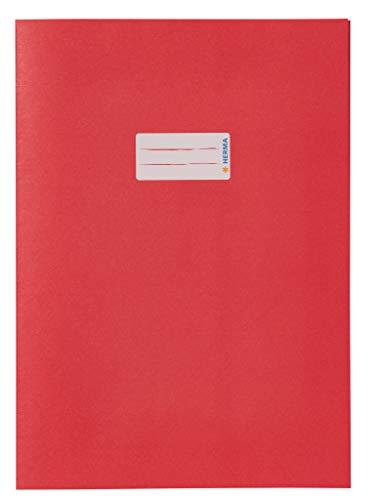 HERMA 5532 Papier Heftumschlag DIN A4 mit Beschriftungsfeld, aus kräftigem Recycling Altpapier und satten Farben, Heftschoner für Schulhefte, rot