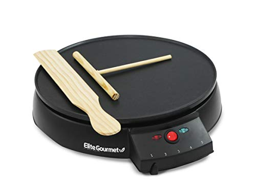 Elite Gourmet Electric Crepe Maker Pancake, Hot Cakes and Non-stick Griddle with Spreader, Spatula and Recipes, 12', Black