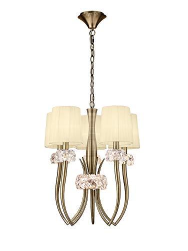 Inspired Mantra - Loewe - Lámpara colgante de techo Slim 5 luces E27, latón antiguo con pantallas crema