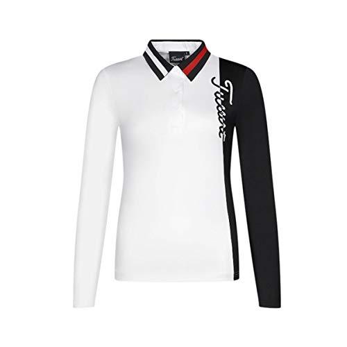 Bwchuxin Damen Golf Poloshirt, Schnell Trocknender, Atmungsaktiver Golfpullover, Langärmlige Outdoor Casual Golf Activewear,Weiß,M
