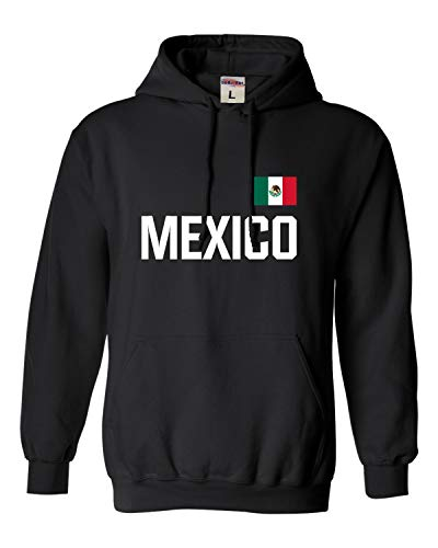 Go All Out Small Black Adult Mexico Soccer Futbol Jersey Style Sweatshirt Hoodie