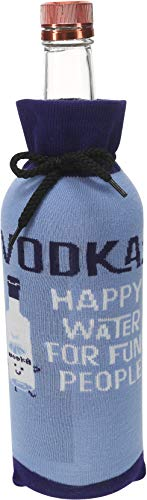Pavilion Gift Company Blue Happy Water For Fun People Knitted Vodka Gift Bottle Sock, 9.5'