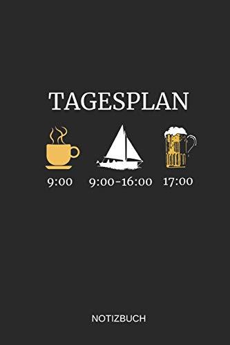 Tagesplan Notizbuch: Liniertes Notizbuch - Kaffee Segeln Bier Boot Anker Kapitän Geschenk