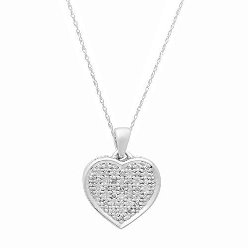 Dazzlingrock Collection 0.04 Carat (ctw) Round White Diamond Ladies Heart Pendant (Silver Chain Included), 14K White Gold (0.04 Ct Diamond Fashion)