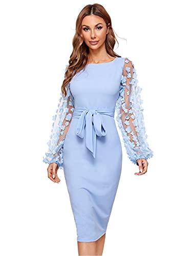 DIDK Damska siatka, podkreślająca figurę, sukienka z węzłem, pasek, haftowane kwiaty, aplikacja, Bishop rękawy, długość do kolan, ponsowa ołówek, jednokolorowa sukienka na imprezę, niebieski, L