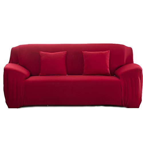 Cornasee Funda de sofá Elastica 3 plazas,Cubierta para sofá con Cuerda de fijación (Rojo,3 Plazas)