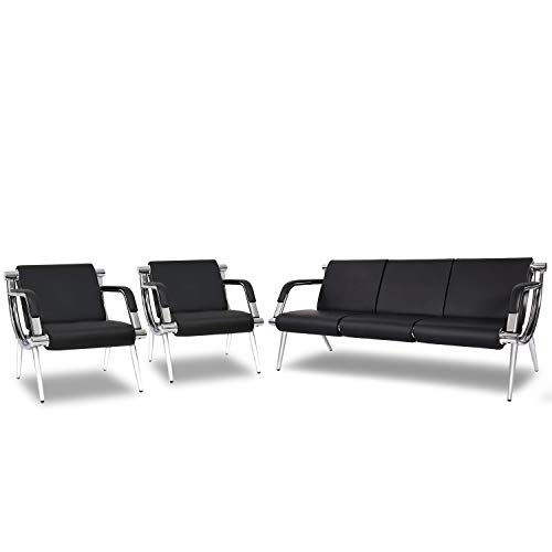Kinsuite 3PCS PU Leather Waiting Room Chairs Airport Seating Reception Bench for Clinic Office School Salon with Arms Black
