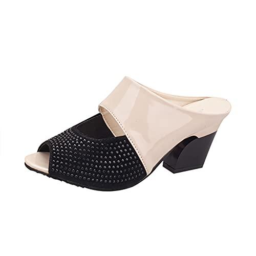 Sandalias de tacón cuadrado para mujer, sin cordones, con forma de almendra, sin respaldo, con tacón alto, beige, 41/42 EU