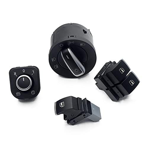 Interruptor de Ventana de Coche para Passat B6 EOS Golf 5 6 GTI mk5 mk6 5K3959857 5ND 959 565A 4 Piezas, Interruptor de Faro de Espejo de Ventana Cromado