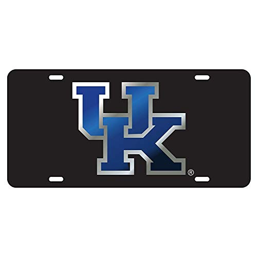 Kentucky Wildcats Black w/Blue UK Mirrored License Plate Tag