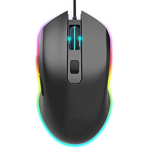 CWW Ratón Gaming RGB Mouse con Cable para Juegos con Botones Laterales Sensor óptico con 6400 dpi Ratón para Juegos de Alta precisión 6 Botones programables