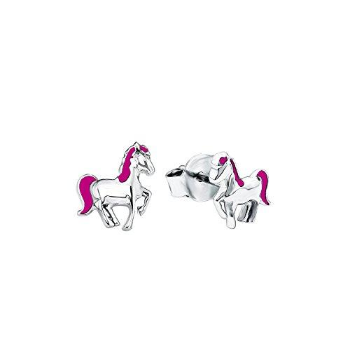 Prinzessin Lillifee Kinder-Ohrstecker für Mädchen, Pferd, 925 Sterling Silber, Rhodiniert / Emailliert