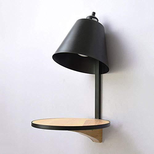 Lámpara de Pared Moderna de Madera Montada en la Pared Personalidad Creativa E27 Lámpara de Pared de Metal de 1 Luz Sala de Estar Pasillo Decoración de Fondo Aplique de Pared Linterna, C-L, Negro