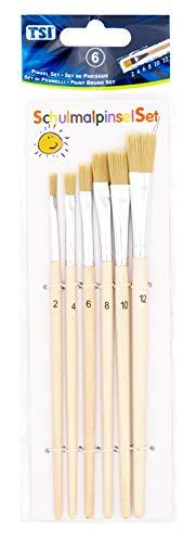 TSI 49108 Schulmalpinsel-Set 6-teilig, Borstenpinsel 2,4,6,8,10,12, Schaft naturbelassen