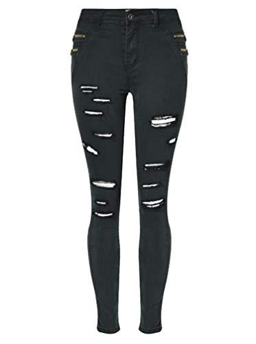 Desconocido JIER Mujer Skinny Ripped Denim Jeans Vaqueros Tallas Grandes Pantalones Rotos...