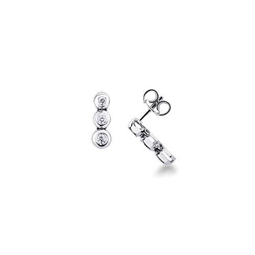 Gioielli di Valenza - Orecchini modello trilogy in oro bianco 18k con diamanti - ORN1741BB