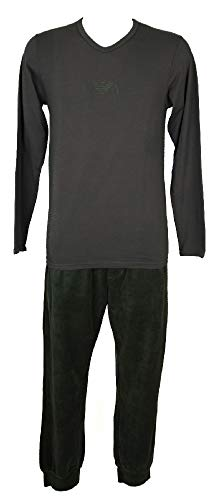 Emporio Armani Pijamas Hombre Manga Larga Pantalones in Pile artículo 111247 3A715+111382 3A589, 04543 Medium Grey, M