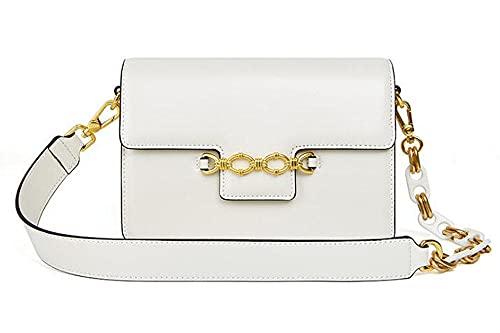 Etyybb Bolso de hombro para mujer, bolsos elegantes, bolso de mano de piel de vaca, bolso cruzado para mujer, color Blanco, talla Large
