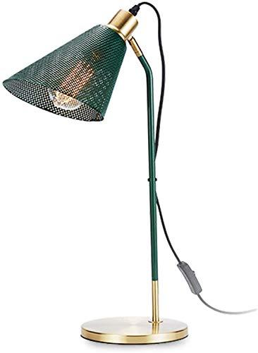 LOKKRG Lámpara de Mesa de Noche Verde, lámparas de Mesa Modernas y Elegantes, lámpara de Escritorio Dorada de Metal con Pantalla de Malla, iluminación Interior para Sala de Estar y Dormitorio
