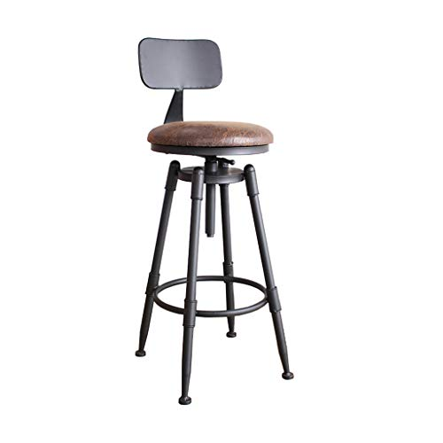 Taburete de bar industrial con respaldo, taburetes de altura de madera maciza y metal, taburete giratorio de altura de mostrador, taburete de hierro fundido, taburete rústico de altura ajustable