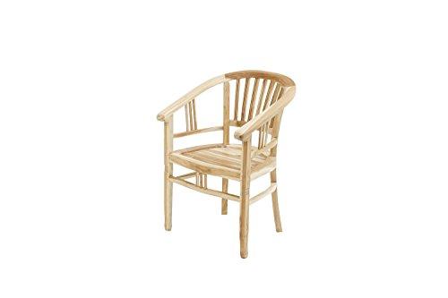 Ploß Ploß Sessel New Orleans Eco - Teakholz-Sessel mit SVLK-Zertifikat - Gartensessel Holz Braun - Garten-Möbel aus Teak - bequemer Holzsessel - Holzstuhl für Terrasse, Garten oder Balkon, 60 x 62 x 88 cm