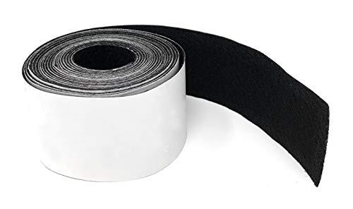 Hochwertiges Filzband stark selbstklebend 4 Meter lang, 50mm breit in Schwarz - Filzklebeband - Möbelgleiter, Anti Quietsch und Anti Kratz Band - Tische, Schränke, Dämmung von Klappergeräuschen