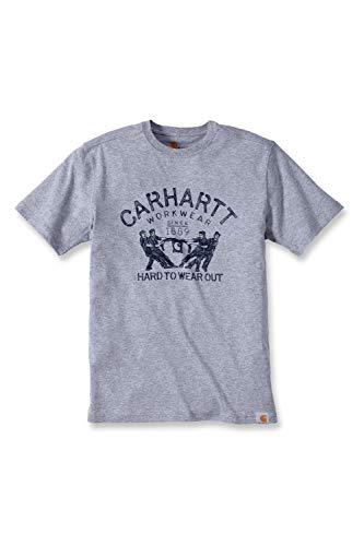 Carhartt - .102097.034.S005, MagliettaMaddock con stampa'Hard To Wear Out' (lingua inglese), M, colore grigio porpora
