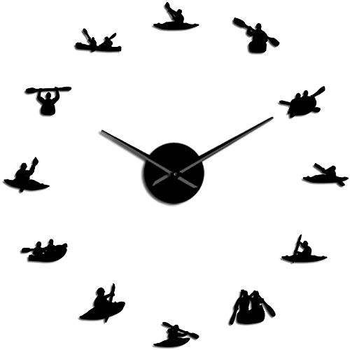 Relojes De Pared Piragüismo Digital Rafting Deportes Acuáticos Kayak Diy Reloj De Pared Grande Con Efecto Espejo Kayakers Reloj Gigante Sin Marco Con Agujas Grandes Reloj Adecuado Para Cafeterías