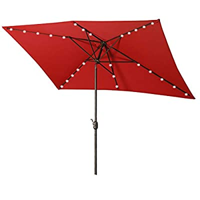 Aok Garden Solar LED Outdoor Umbrella,10x6.5 Feet Rectangular Patio Umbrella with Push Button Tilt and Crank Lift Ventilation,6 Sturdy Ribs Non-Fading Sunshade,Taupe Color