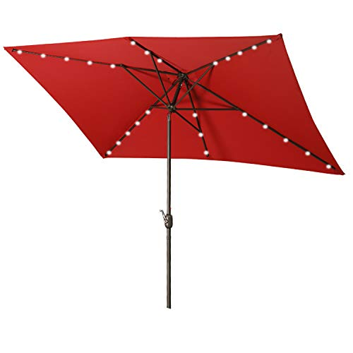 Aok Garden Rectangular Patio Umbrella with Solar Lights 6.5x10FT, 30 LED light with Push Button Tilt and Crank for Market Deck Table, 6 Sturdy Ribs Non-Fading Sunshade, Red